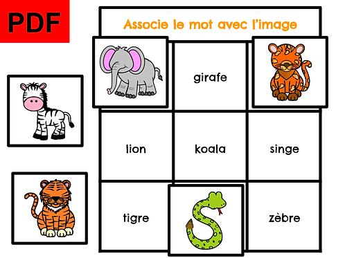 Associe le mot avec l'image (zoo)