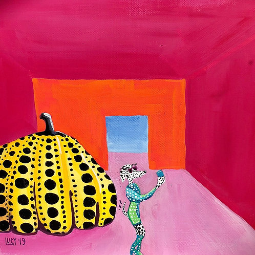 Miss Indognito goes Dotty taking a Selfie in front of Yayoi Kusama's Pumpkin.