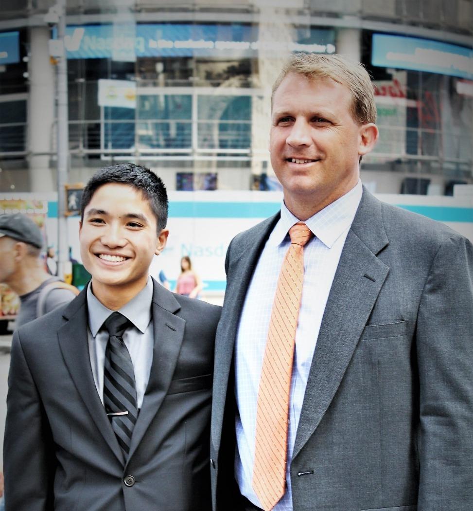 Student Braden and Teacher in NY-Trip winner
