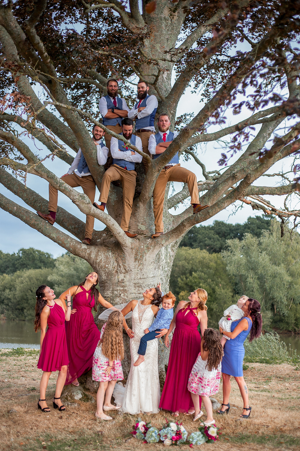 Bridal party in a tree