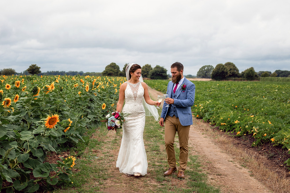 Bride and groom cheers eachother in sunflower field