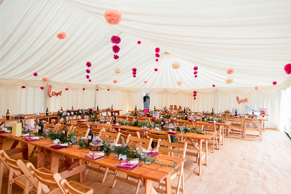 Marquee rustic set up. Banquet tables