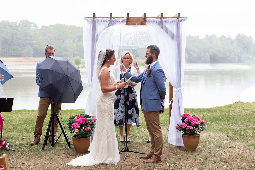 Ceremony in front of lake