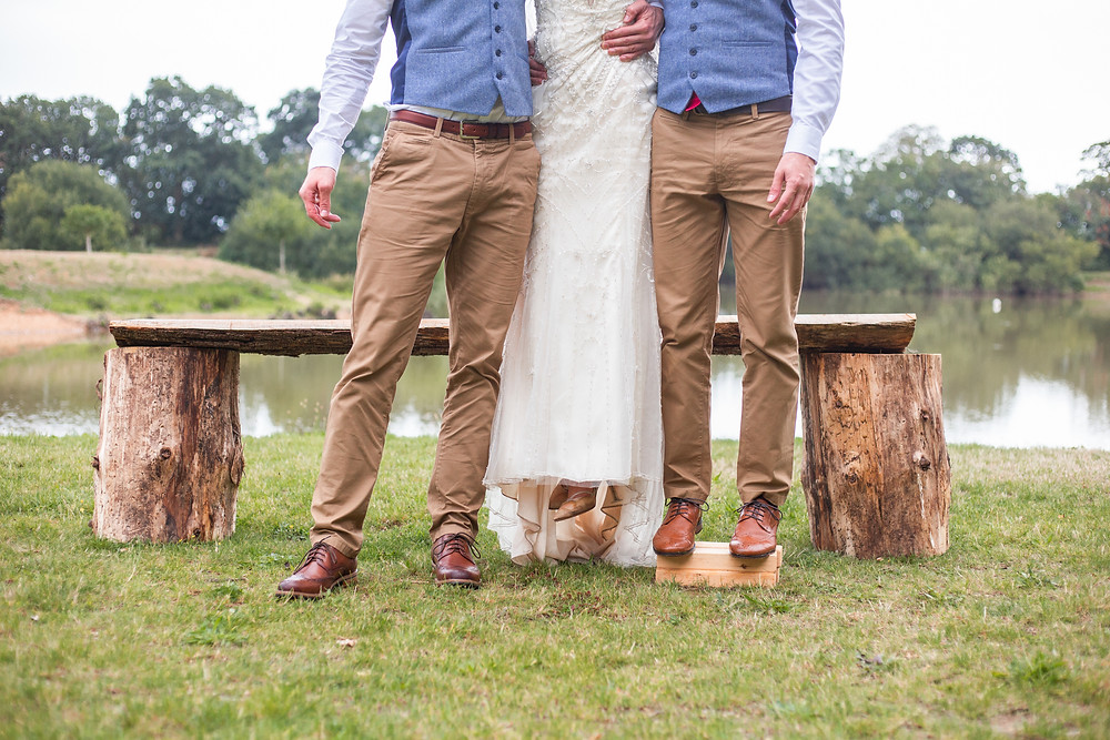 Brothers pick up bride so all same height