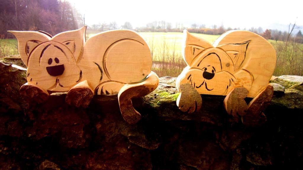 Katze für Fensterbank aus Holz