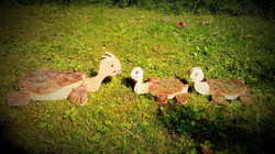 Schlidkröten Familie aus Holz