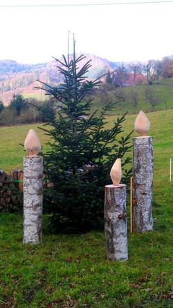 Adventskerzen aus Holz