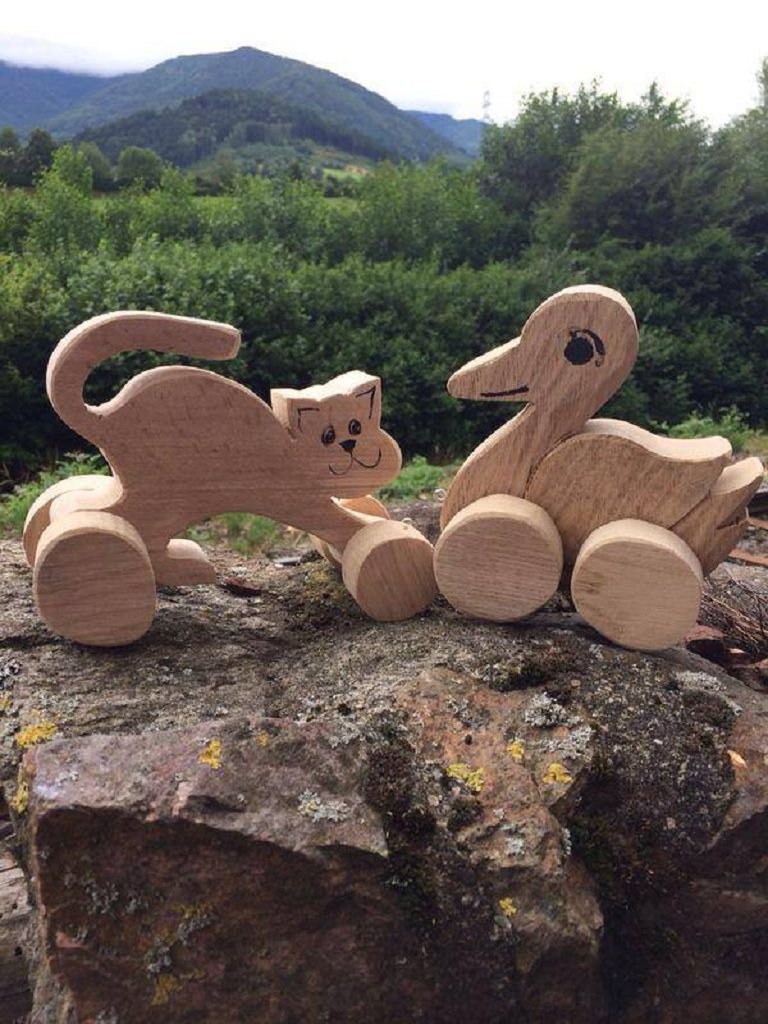 Ziehtier aus Holz Katze Ente