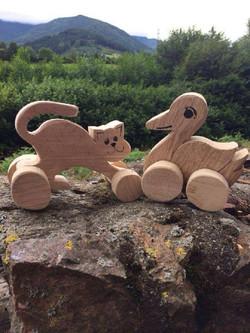 Ziehtier Katze und Ente aus Holz