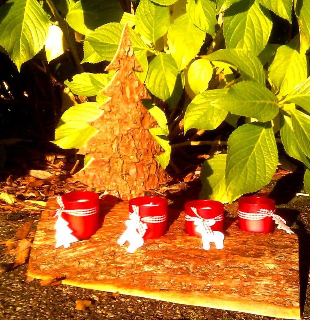 Adventskranz mit Tanne aus Holz