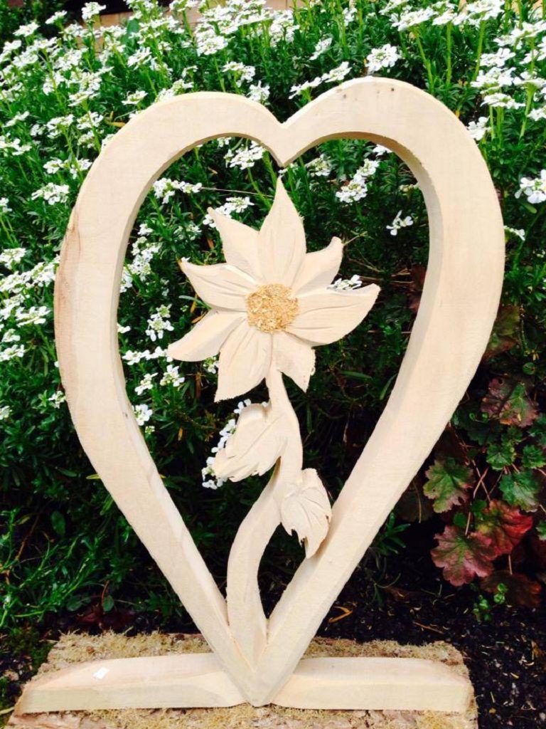 Holzdeko Herz mit Blume