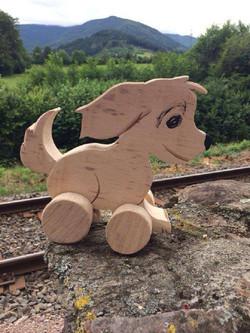 Ziehtier Hund aus Holz