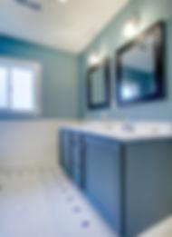 Blue and white classic modern new bathro