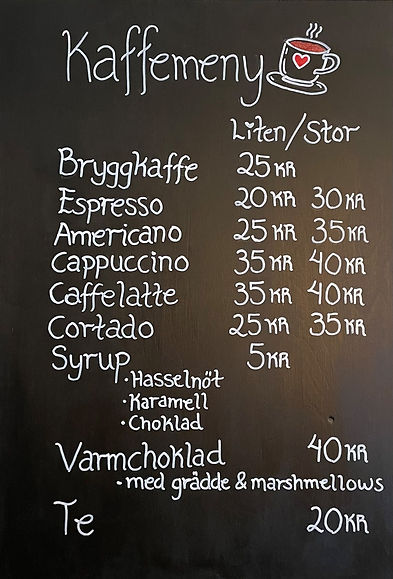 Kaffemeny hos Vareborgs Jordgubbscafé