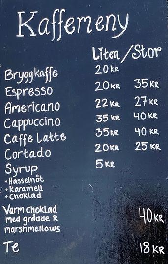 Kaffemeny hos Vareborgs Kafé