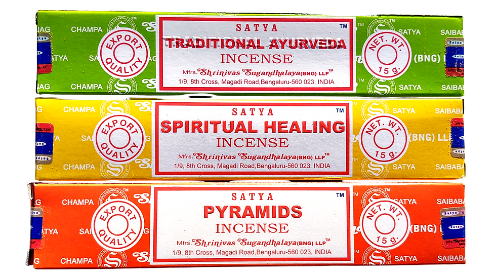 Traditional Ayurveda, Spiritual Healing, & Pyramids Scented Satya Brand Incense