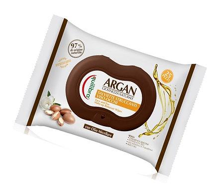Equilibra Arganovo olje robčki za odstranjevanje make upa 25 kosov