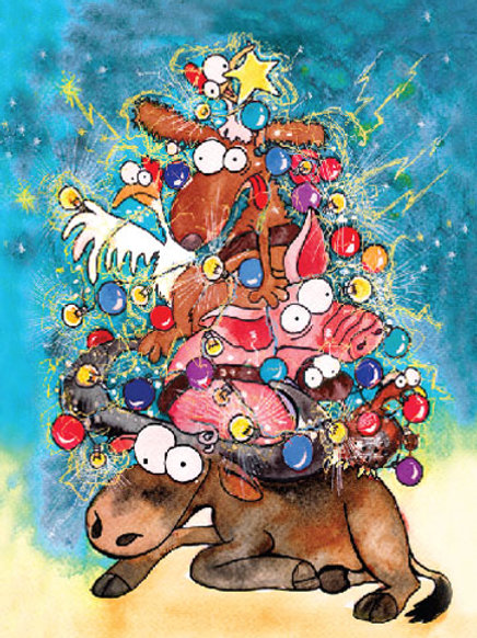 'Boonie Animals Christmas Tree' Greeting Card