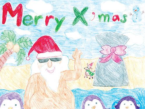 'Guam Santa' - Buy Local Student Greeting Card