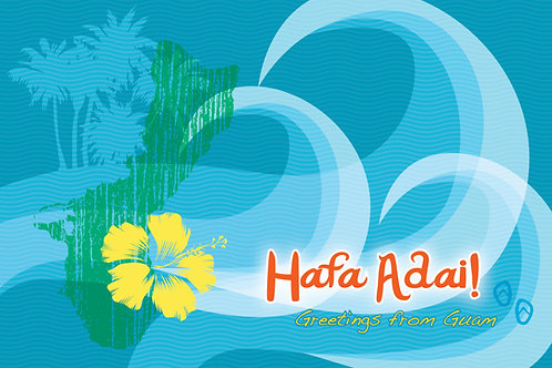 'Hafa Adai Surf' Greeting Card