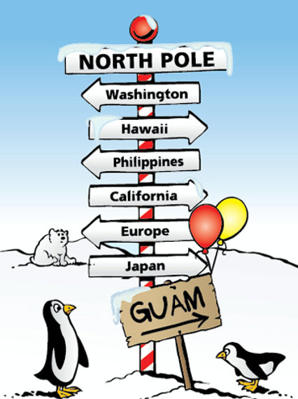 'North Pole to Guam' Greeting Card