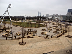 Picnic tables at Maggie Daley Park