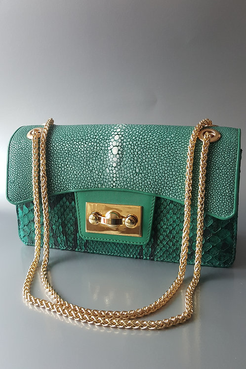 "Sting-Ray/Snake Hand Bags ""Vaniteux 2"" (Green)"