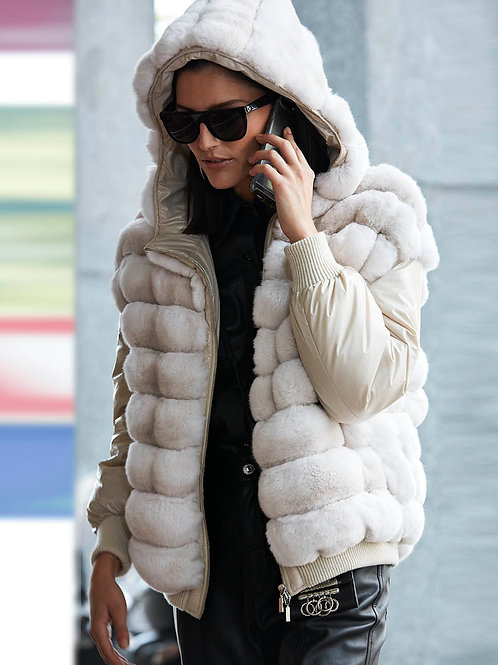 White Chinchilla Fur w/ Hood Jackets For Women