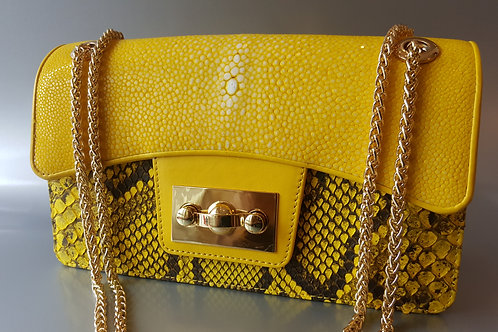 "Sting-Ray/Snake Hand Bags ""Vaniteux 2"" (Yellow)"