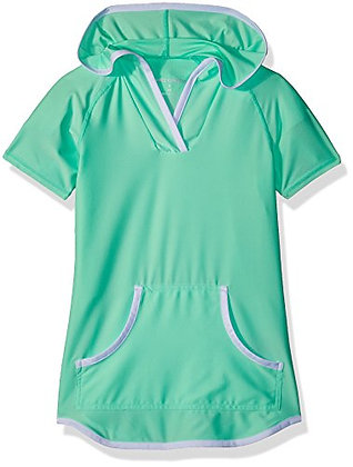 Free Country Little Girls' Hooded Kangaroo Cover Up, Mint, M (5/6)