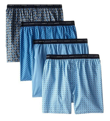 Hanes Men's 4-Pack Printed Woven Exposed Waistband Boxers (Assorted)