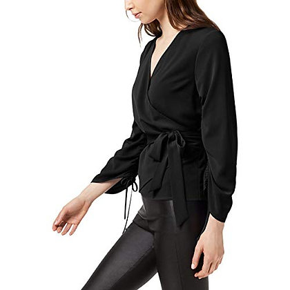 Bar III Womens Ruched Wrap Knit Blouse, Black, X-Large