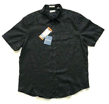 Natural Blue by Visitor Men's Linen Short Sleeve Shirt (Large, Black)
