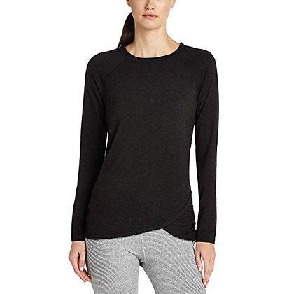 Danskin Women's Long Sleeve Crossover Top, Dark Charcoal, Medium
