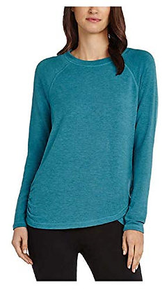 Danskin Women's Long Sleeve Crossover Top, Colonial Blue, Small