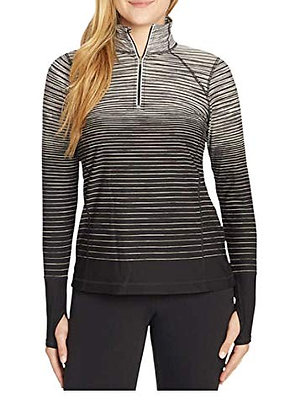 Kirkland Signature Ladies' 1/4 Mock Neck Zip Up Pullover (Black Grey, Medium)