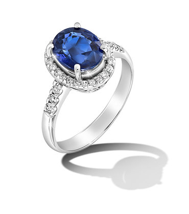 Classic Halo Oval Blue Sapphire Ring