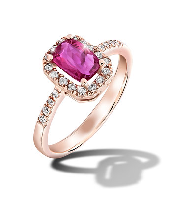 Rose Gold Halo Ruby Ring