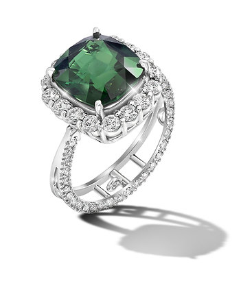 Square Halo Tsavorite Convertible Ring