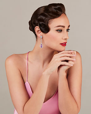 Model with beautiful Amee Philips pink earrings
