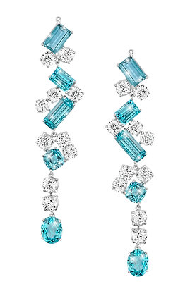 White Zircon & Apatite Dangling Earrings