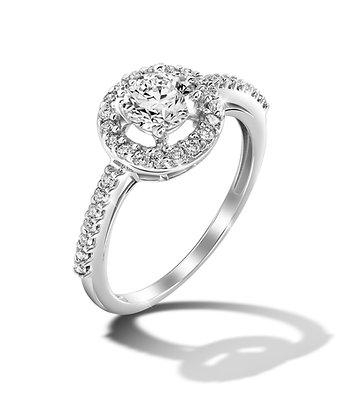 Classic Round Diamond Halo Ring