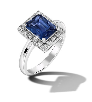 Classic Halo Blue Sapphire Ring