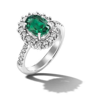 Oval Halo Emerald Ring