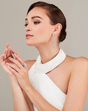 model with Amee Philips aquamarine chandelier earrings.