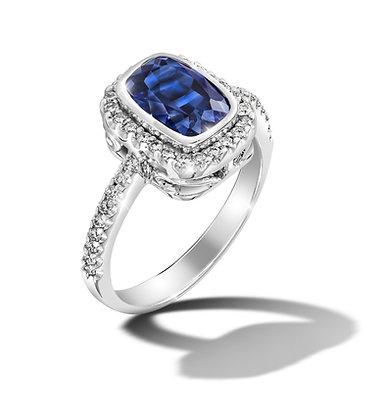 Rectangular Halo Blue Sapphire