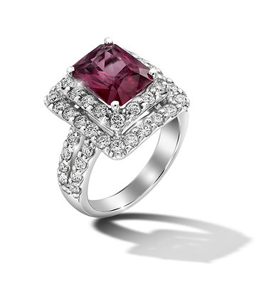 Rectangular Double Halo Ruby Ring