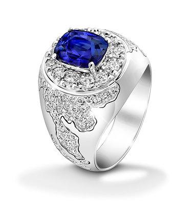 Conqueror Square Blue Sapphire Ring