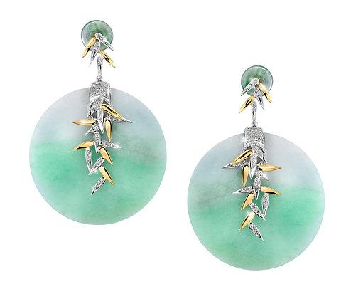 Round Jade Bamboo Earrings