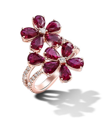 Rose Gold Ruby Flower Ring